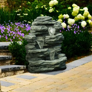 High Quality Resin Cascading Stone Waterfall Fountain. By Pure Garden