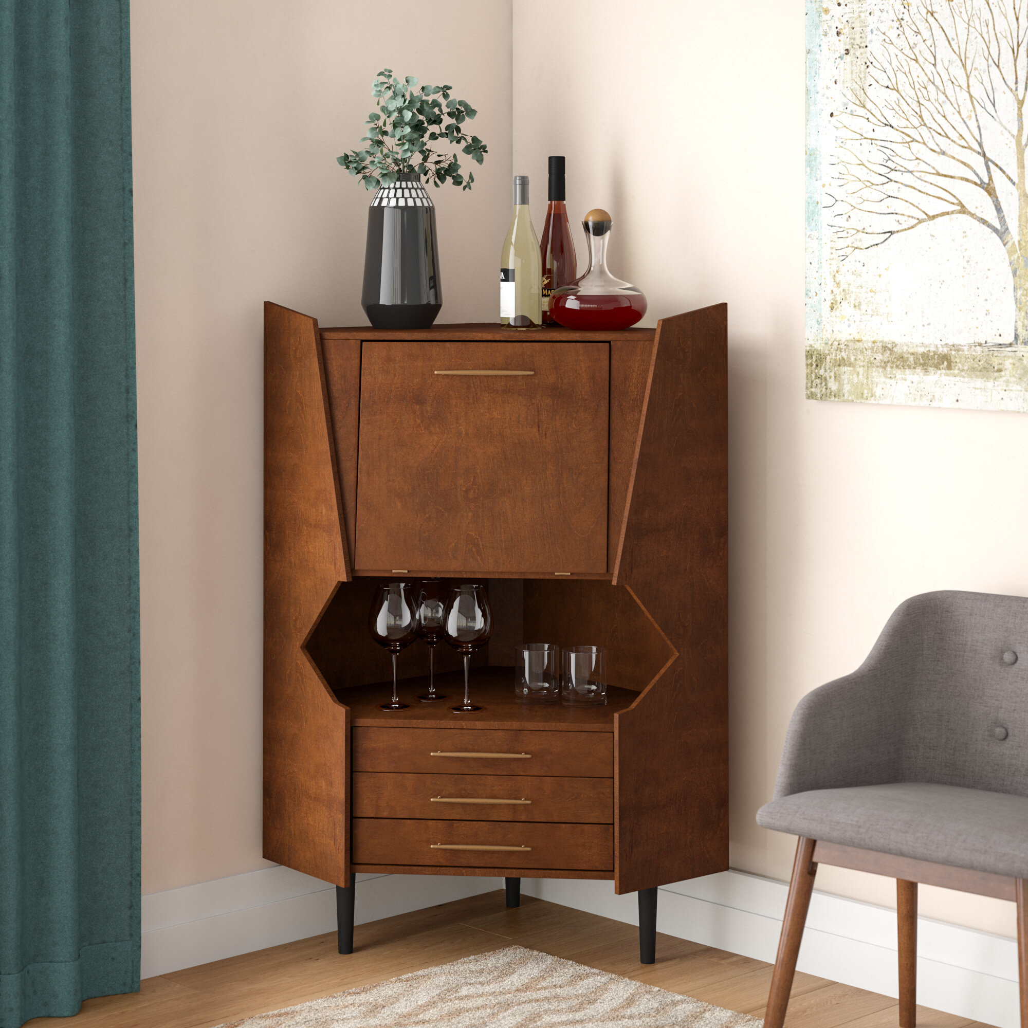 Wrought Studio Hester Corner Bar Cabinet Reviews Wayfair