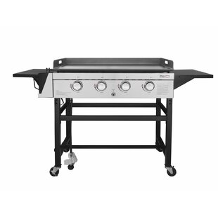 4 Burner Flat Top Propane Gas Grill With Side Shelves