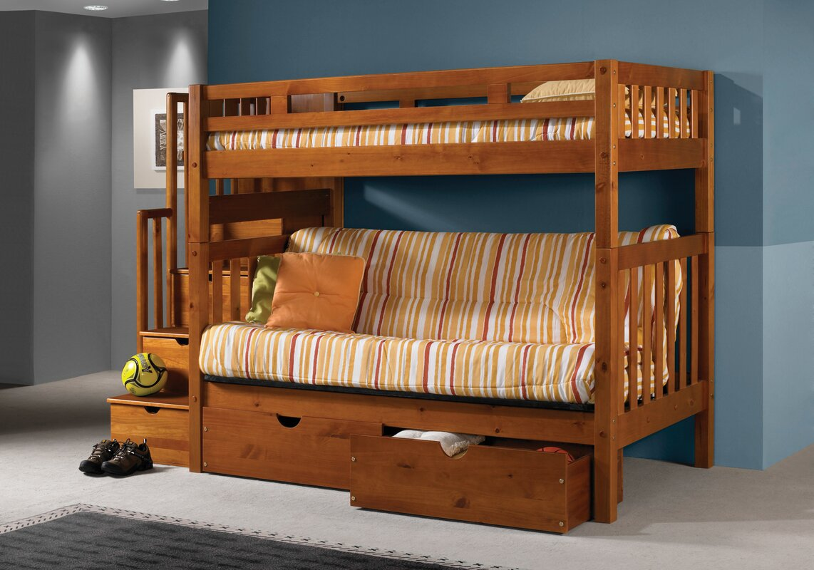 Stairway Loft Bunk Bed with Storage Drawers