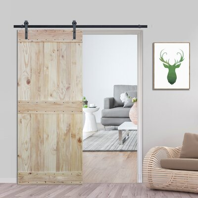 Two Side Mid Bar Solid Wood Panelled Pine Slab Interior Barn Door