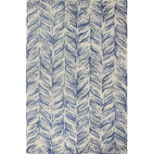 Luckett Hand-Tufted Ivory/Blue Area Rug