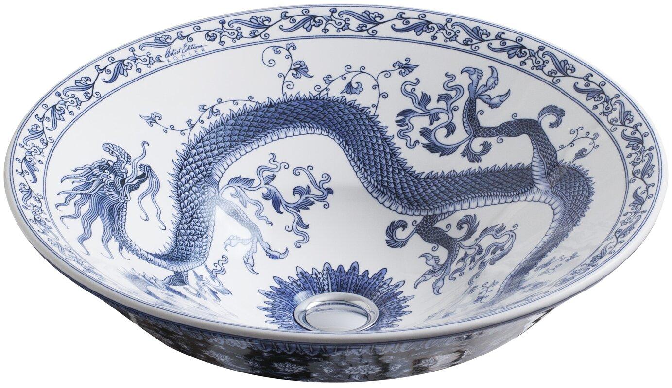 K-14223-VB-0 Kohler Imperial Blue Ceramic Circular Vessel Bathroom ...