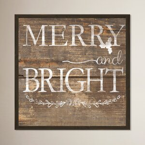 Merry and Bright Rustic Wood Inverse Framed Memorabilia