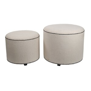 2 Piece Round Ottoman Set by Privilege
