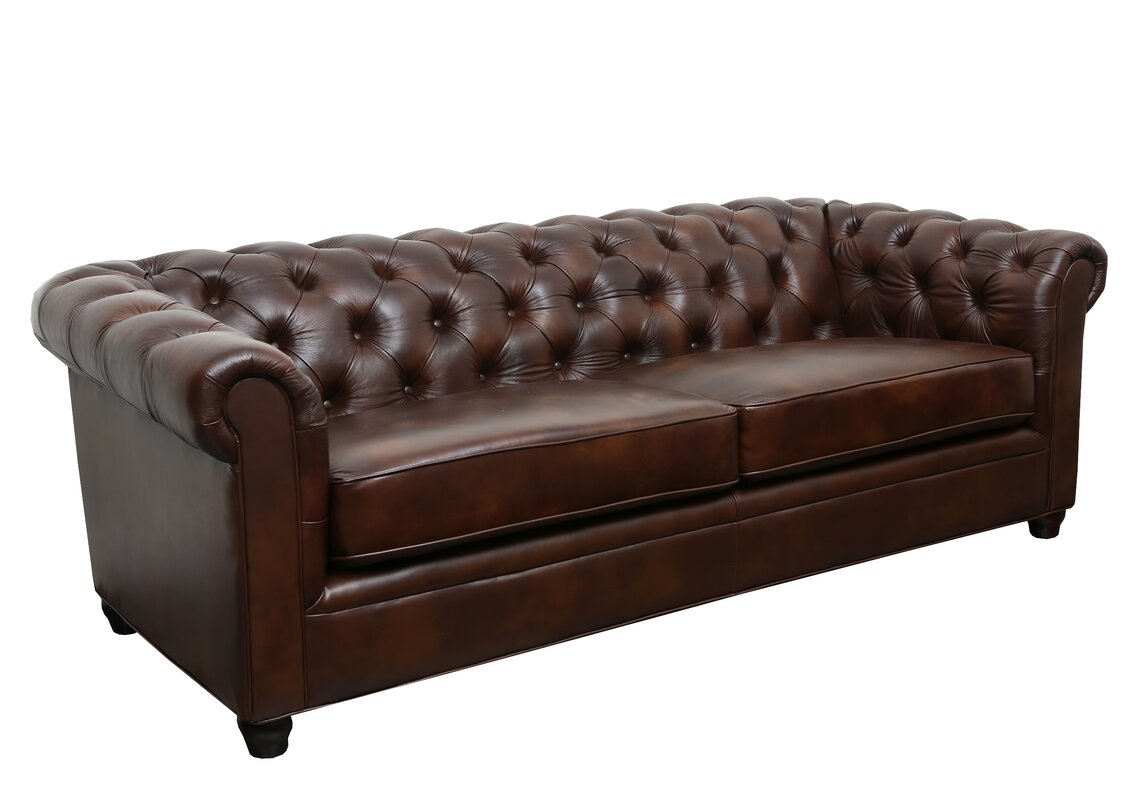 Trent Austin Design Harlem Leather Chesterfield Sofa& Reviews Wayfair