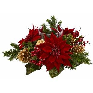 artificial arrangement poinsettia pine cone candelabrum