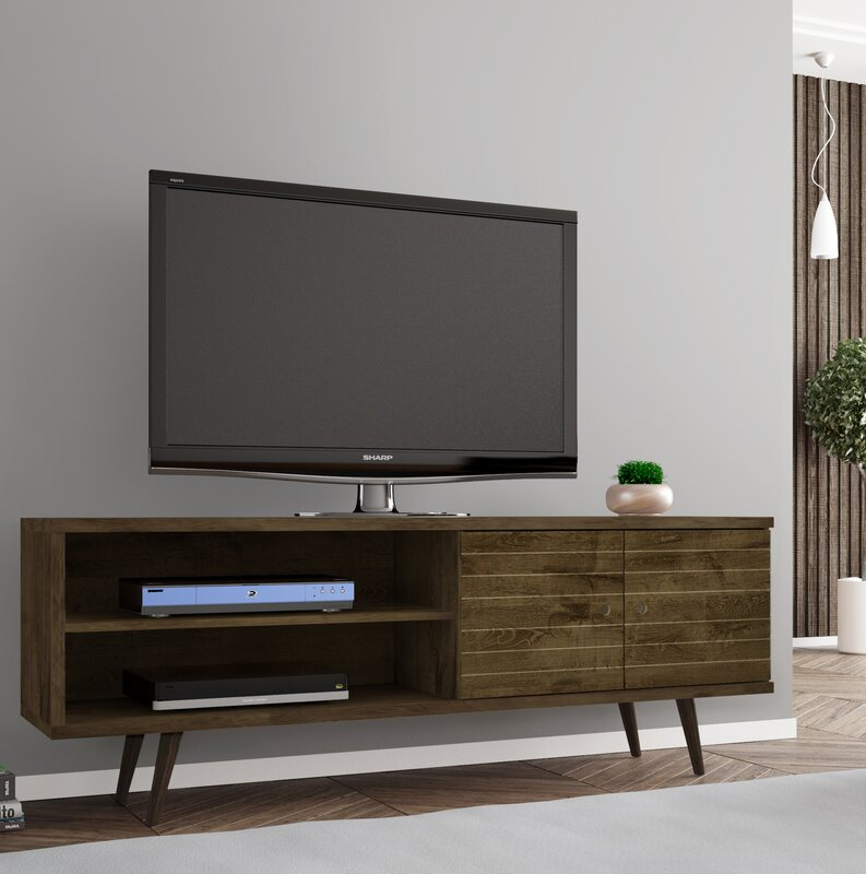 Lewis 62.99\  Mid Century - Modern TV Stand with 3 Shelves and 2 Doors in & Lewis 62.99\