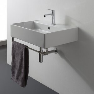 Teorema 18 Wall Mounted Bathroom Sink With Overflow