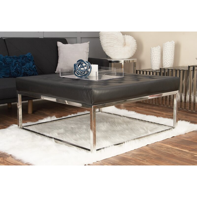 Stainless Steel Coffee Table: Cole & Grey Stainless Steel And Leather Coffee Table