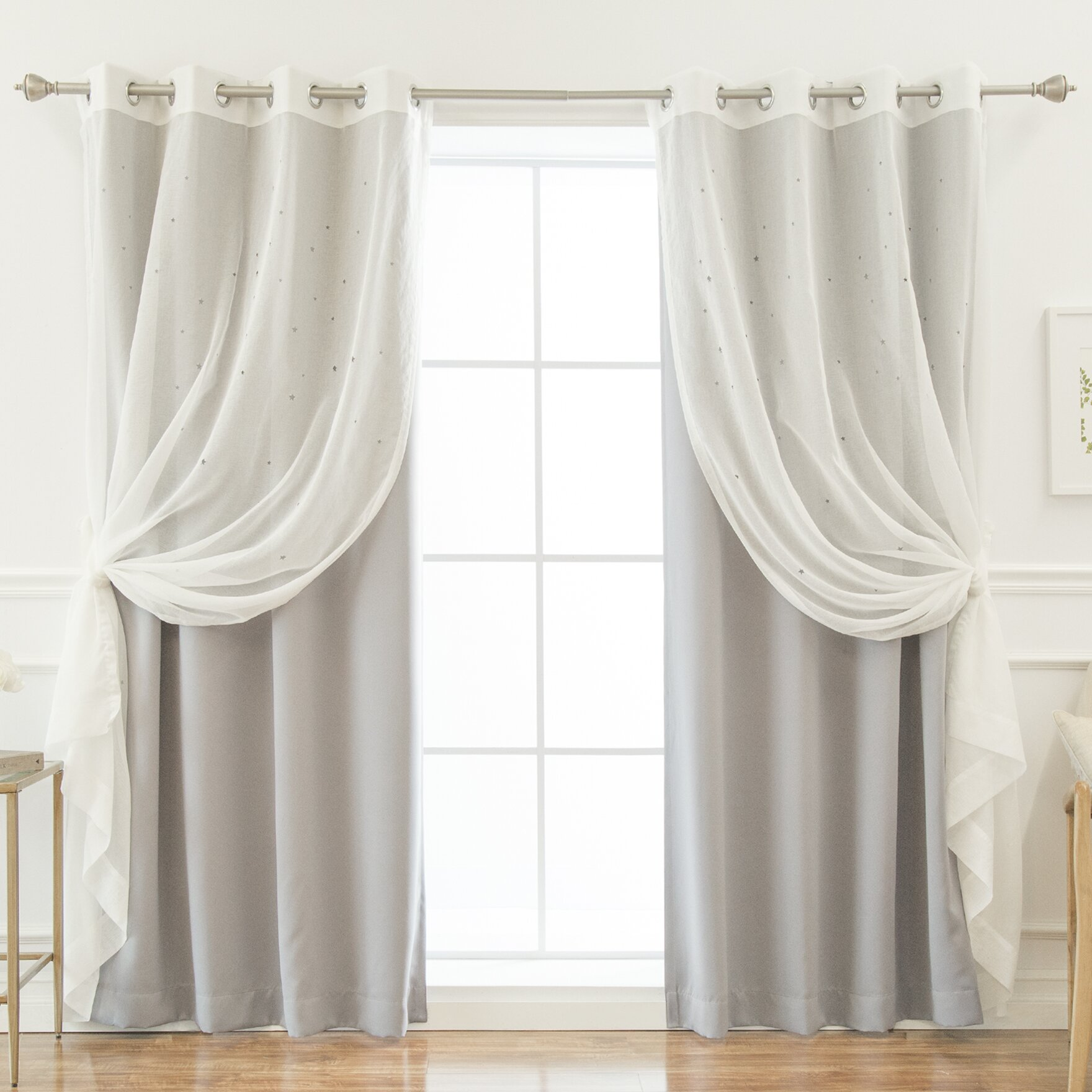 Darby Home Co Bedwell Sheer Star Cut Out Solid Blackout