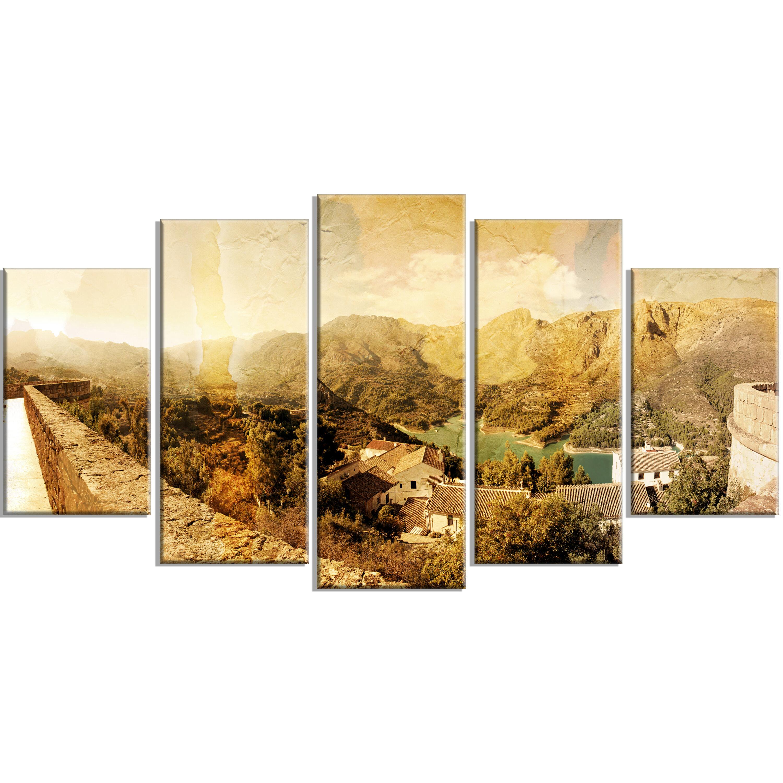 DesignArt \'Mountain and Lofty Lake\' 5 Piece Wall Art on Wrapped ...