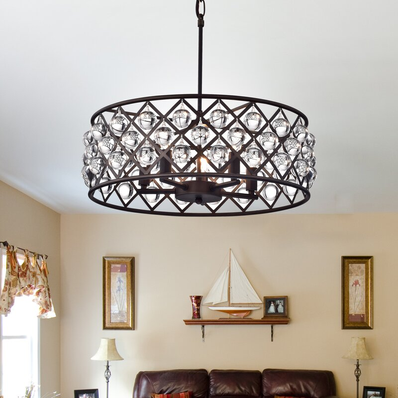 Warehouse Of Tiffany 5 Light Drum Chandelier Amp Reviews Wayfair