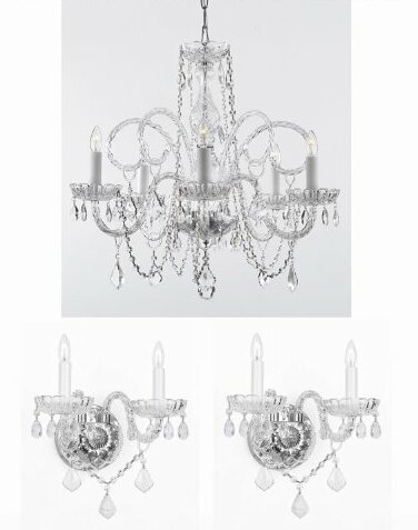 Rosdorf Park Shepard 3 Piece Crystal Chandelier And Wall Sconces