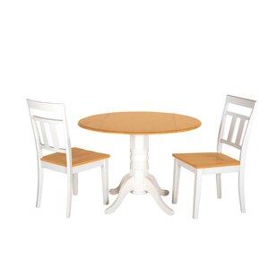 Adette 3 Piece Drop Leaf Solid Wood Dining Set