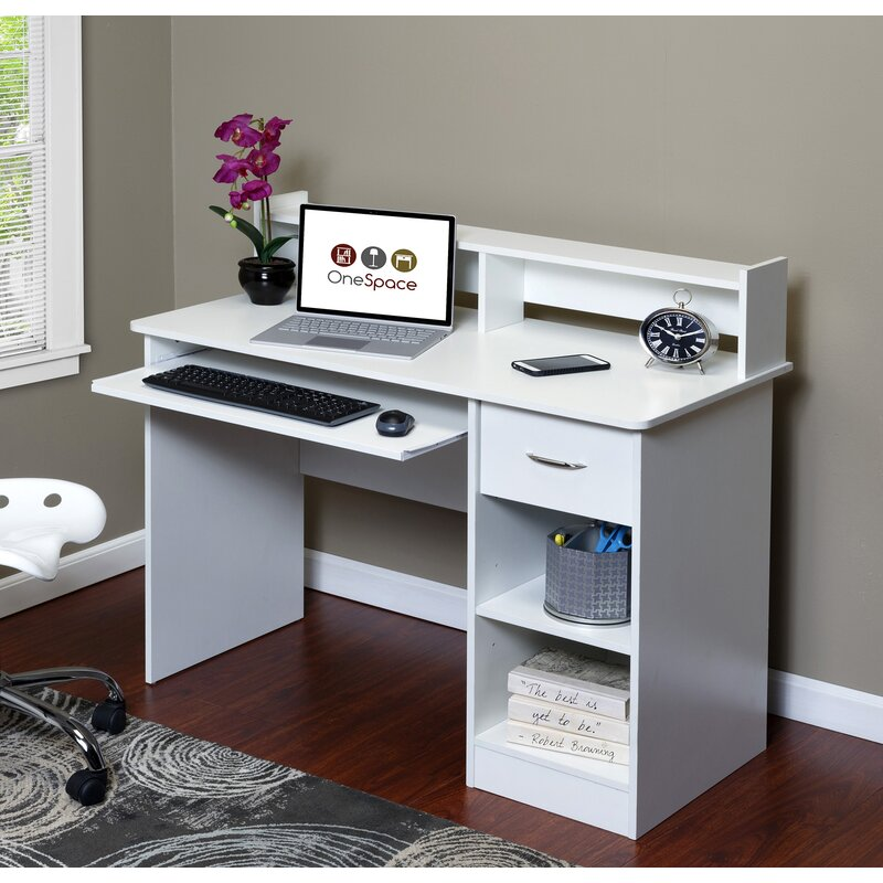 OneSpace Essential Computer Desk with Hutch & Reviews ...