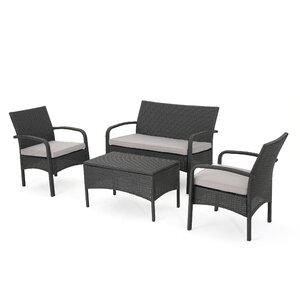 Jeffrey 4 Piece Sofa Set with Cushions