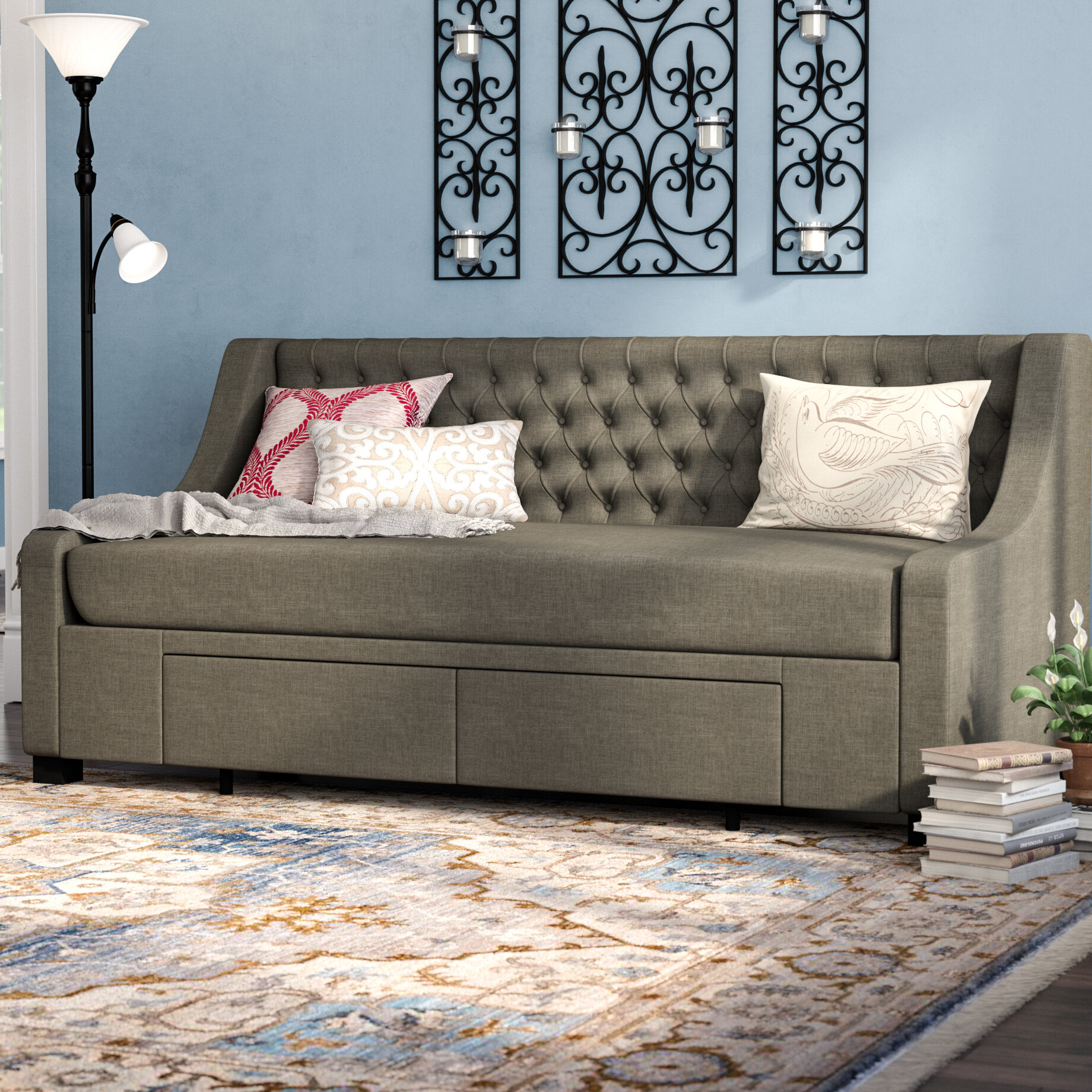 Darby Home Co Aron Twin Upholstery Storage Daybed U0026 Reviews   Wayfair