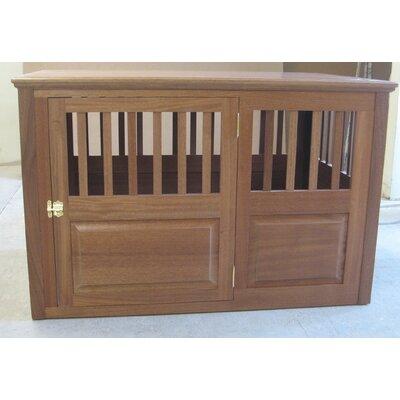 "Solid Wood Pet Crate Classic Pet Beds Size: Medium (27"" H X 25"" W X 40"" L), Color: Mahogany, Door Location: Side - Left Side"