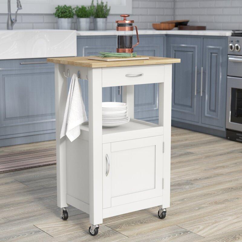 Charlton Home Turcios Kitchen Island Cart With Natural Wood Top Reviews Wayfair