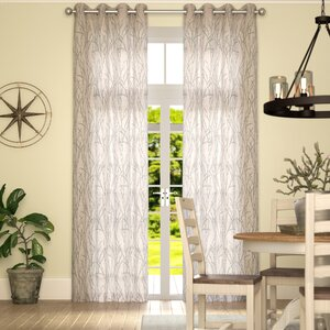 Baillons Nature/Floral Room Darkening Grommet Curtain Panels (Set of 2)