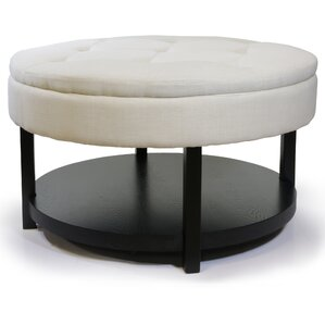 Alsatia Round Tufted Padded Shelved Ottoman by Darby Home Co