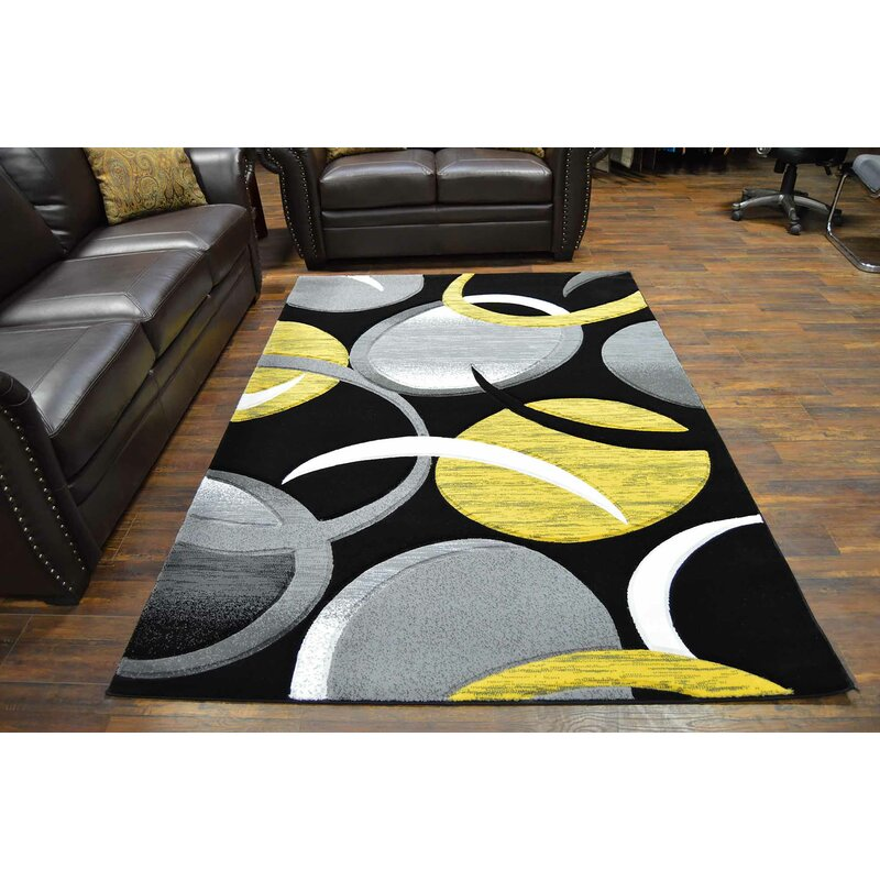Mccampbell Abstract Yellow Black Area Rug