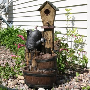 Polyresin Birdhouse and Garden Watering Can Outdoor Water Fountain