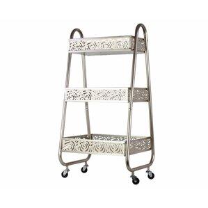 Kleist Metal Bar Cart with 3 Floral Design and Pierced Metal Bins by Brayden Studio