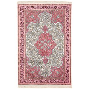 Reagan Hand Knotted Beige/Pink Rug by World Menagerie