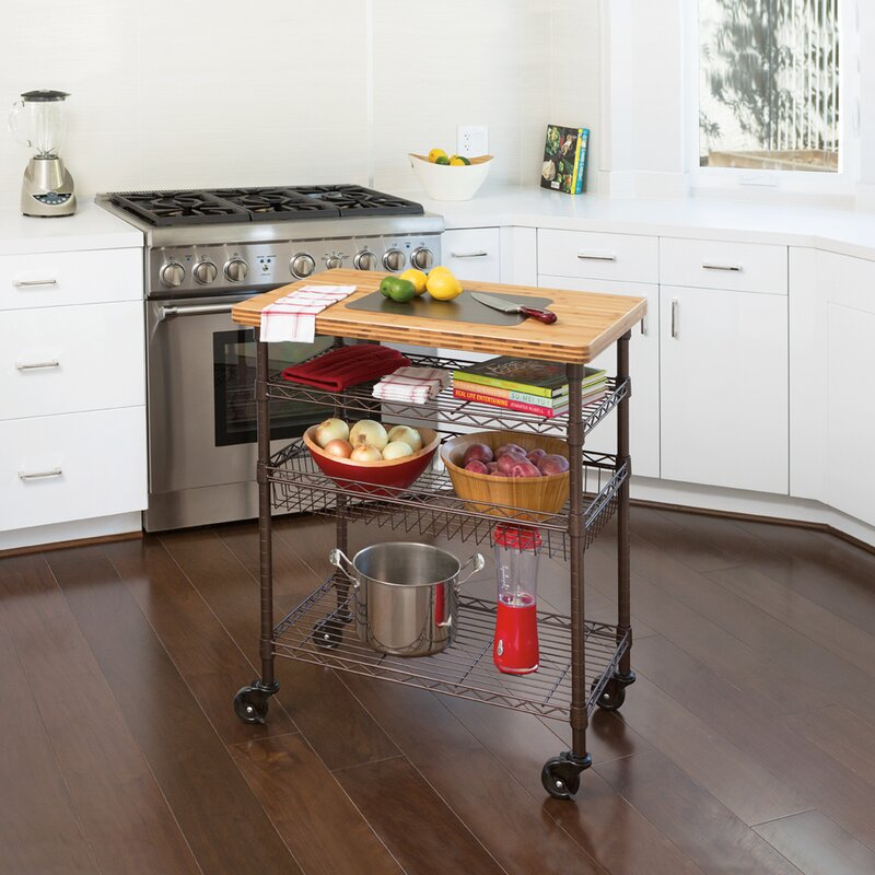Ondina Bamboo Top Chefu0027s Table Kitchen Cart Wood
