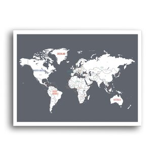 World map magnetic wayfair world map graphic art gumiabroncs Gallery