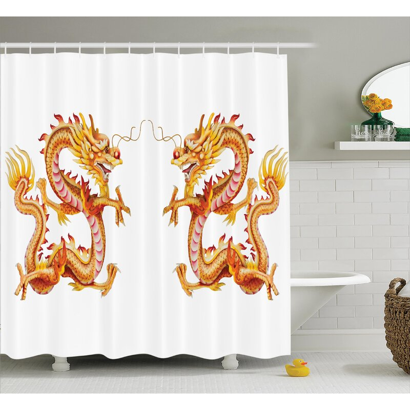 Yolanda Dragon Twin Fire Dragon Zodiac Statues Traditional Asian Art  Chinese Themed Picture Print Shower Curtain