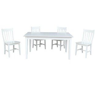 5 Piece Extendable Solid Wood Dining Set