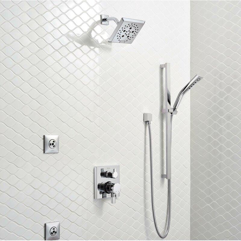 Delta Shower Heads With Hand Shower.51799 Ss Bl Delta Pivotal H2okinetic 3 Setting Slide Bar Hand Shower