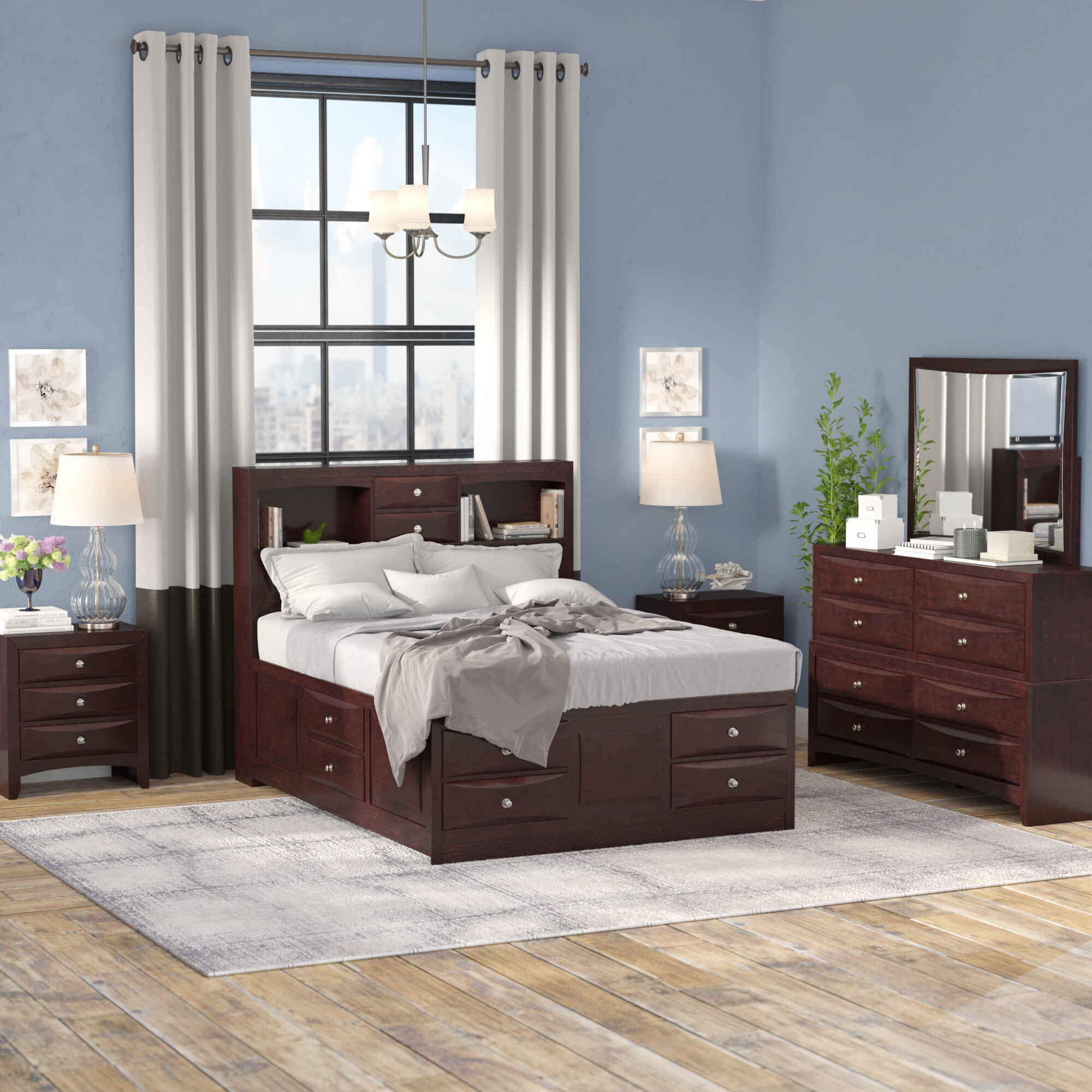 Red Barrel Studio Oreland Platform 5 Piece Espresso Bedroom Set ...