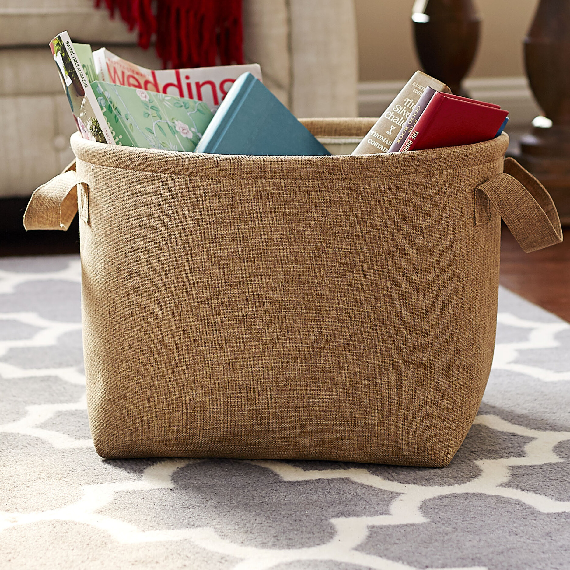 Household Essentials Round Soft Side Burlap Laundry
