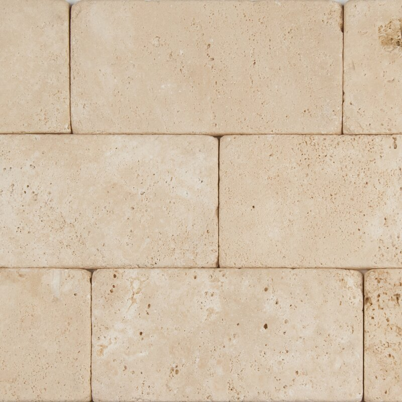 Msi Durango 3 X 6 Travertine Subway Tile In Tumbled Cream Wayfair