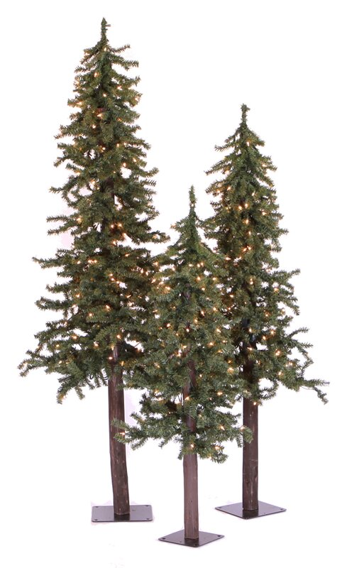 natural alpine green artificial christmas tree with 450 clear lights stand - Artificial Christmas Trees