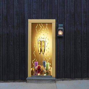 New Yearu0027s Champagne Glasses Door Mural