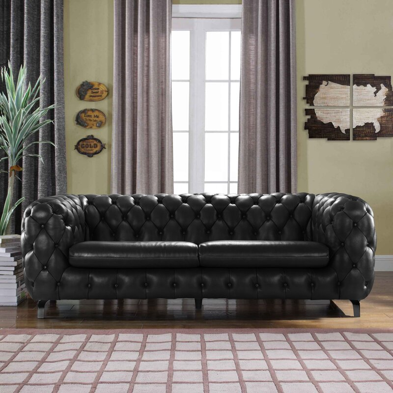 Beautiful Yuliya Leather Chesterfield Sofa With Built In Shelves
