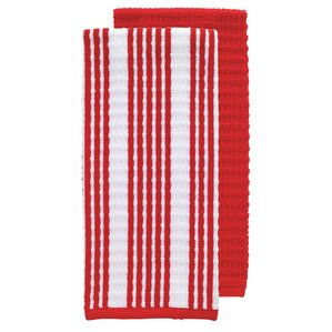Perfect 2 Piece Solid And Stripe Waffle Terry Kitchen Dishcloth Set