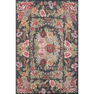 Floral plant pink area rugs youll love wayfair chiu blackgreenpink area rug mightylinksfo