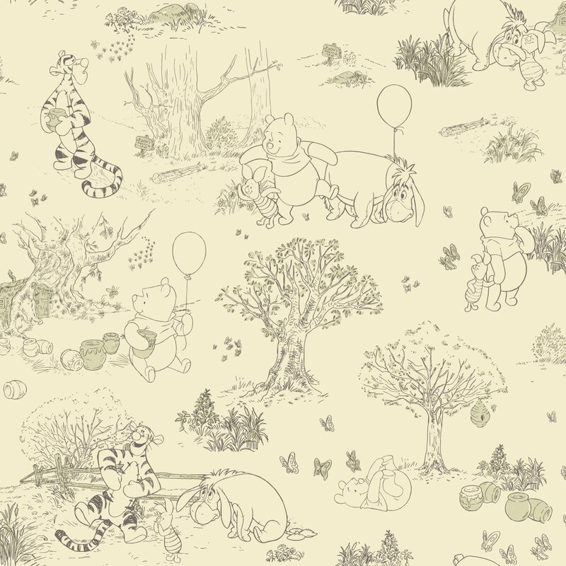 "York Wallcoverings Walt Disney Kids Pooh and Friends 33' x 20.5"" Toile Wallpaper"