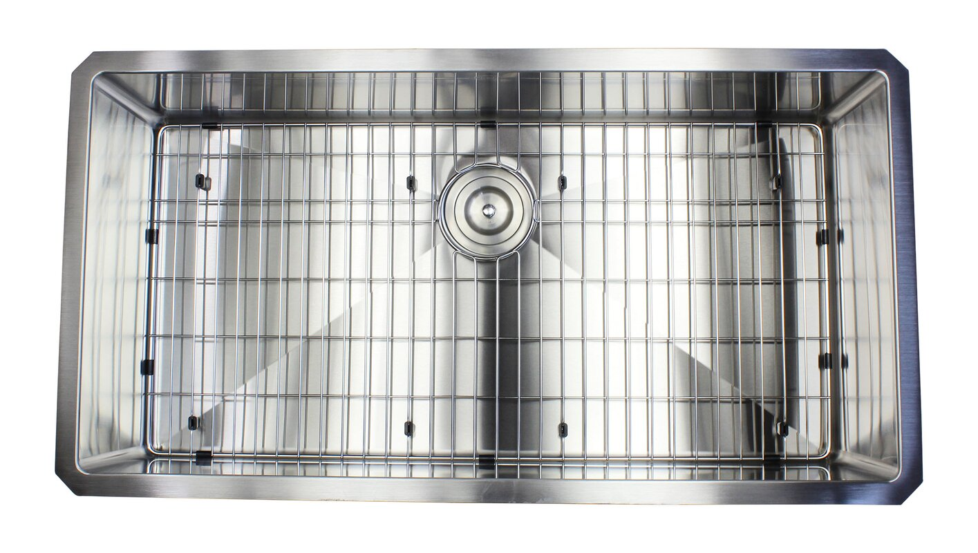 ariel premium stainless steel 36   x 19   undermount kitchen sink with sink grid and emodern decor ariel premium stainless steel 36   x 19   undermount      rh   wayfair com