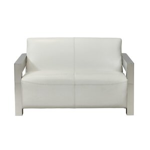 Elida Leather Loveseat by Orren Ellis