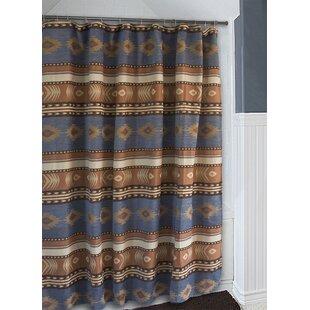 Branford Denim Blue And Brown Southwest Western Shower Curtain