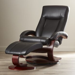 Flathead Lake 54 Series Leather Swivel Recliner With Ottoman