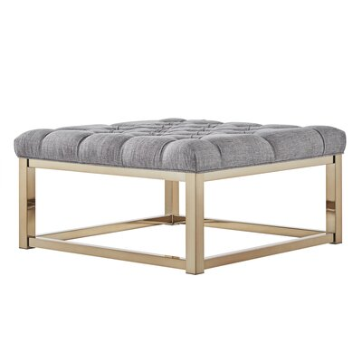 House of Hampton Gilham Tufted Ottoman Upholstery: Pewter Grey Linen, Color: Champagne Gold