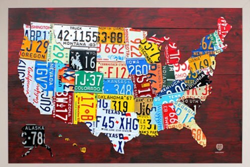 Frame USA \'License Plate Map of the US\' Framed Graphic Art Print ...